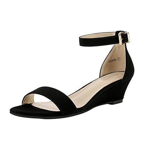 DREAM PAIRS Women's Ingrid Black Nubuck Ankle Strap Low Wedge Sandals - 9 M US
