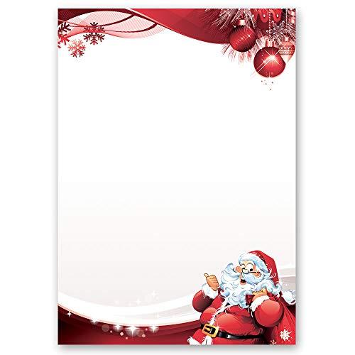 20 fogli di carta da lettera decorati LETTERA A BABBO NATALE DIN A4