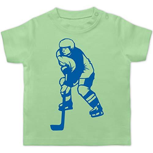 Sport Baby - Eishockeyspieler blau - 1/3 Monate - Mintgrün - Sport - BZ02 - Baby T-Shirt Kurzarm