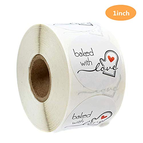 Baked with Love Stickers Labels, Baked with Love Stickers Personalized for Making Bakeries, Bake Sales, Weddings, Baby Showers 1 Inch 500 Labels per roll(Baked White)