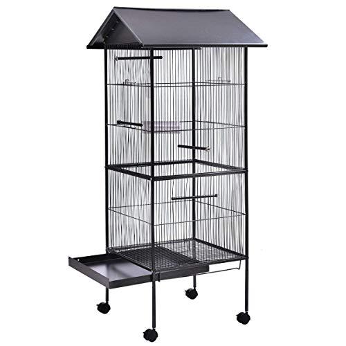 MYPETS - XXL Giant Cage 155x55x55cm Vogelvoliere - Voliere für Innen + Außen - Vogelkäfig groß für Wellensittich, Papagei, Nymphensittich - Käfig für Vögel aus Metall mit Zubehör