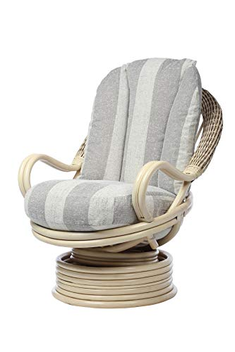 Desser Deluxe Swivel Rocker Chair in Athena Stripe Fabric – 360° Swivel with Rocking Motion - Real Cane Rattan Conservatory Indoor Furniture – Quallofil Technology - H98cm W80cm D98cm.