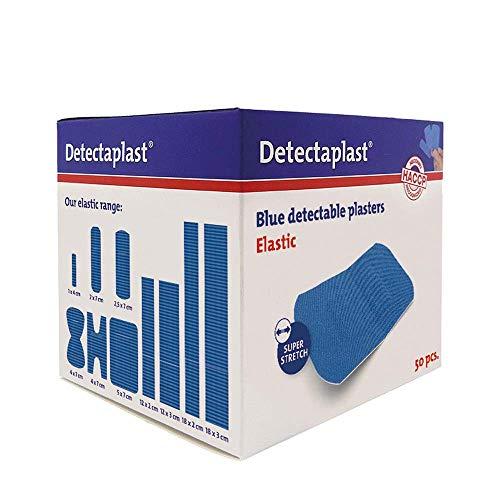 Detectaplast Pflaster wasserfest Elastic, blaue Wundpflaster für den Umgang mit Lebensmitteln, detektierbare Pflaster für Erste Hilfe Sets in der Gastronomie, 50 x 72 mm, 50 Stück
