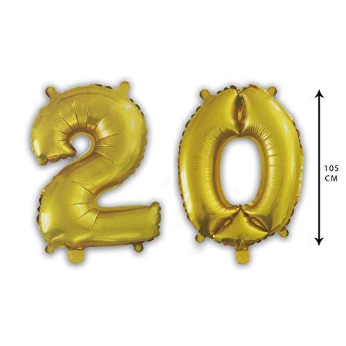 PARTY Globos de Cumpleaños - Número Grande en Color Dorado Metalizado - Fiesta de cumpleaños y Aniversarios - Gigante 105 cm - Hinchable - Tamaño XXL (20)
