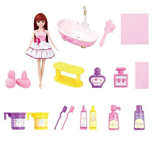 Lihgfw Puppe Badezimmer Set Kind-Mädchen-Spiel-Haus Bad Puppe Spielzeug Geburtstagsgeschenk Rich-Zubehör Badewanne Automatik Wasser Outlet bewegliche Geschenk-Box
