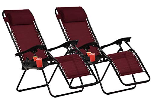 KEPLIN Set of 2 Heavy Duty Textoline Zero Gravity Chairs   Garden Outdoor Patio Sun Loungers   Folding Reclining Chairs (MAROON)