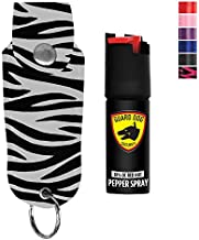 Guard Dog Security Pepper Spray Keychain, Red Hot Self Defense Spray with UV Dye - Choose a Leather Holster Color, Zebra - Black/White