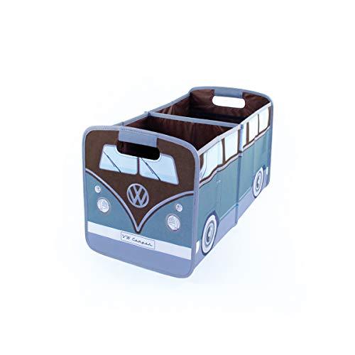 BRISA VW Collection - Volkswagen T1 Bulli Bus Falt-Aufbewahrungs-Box, Kofferraum-Tasche, Stauraum für Einkäufe, Spielzeug, Alltagsgegenstände, Auto-Zubehör (Petrol/Braun)