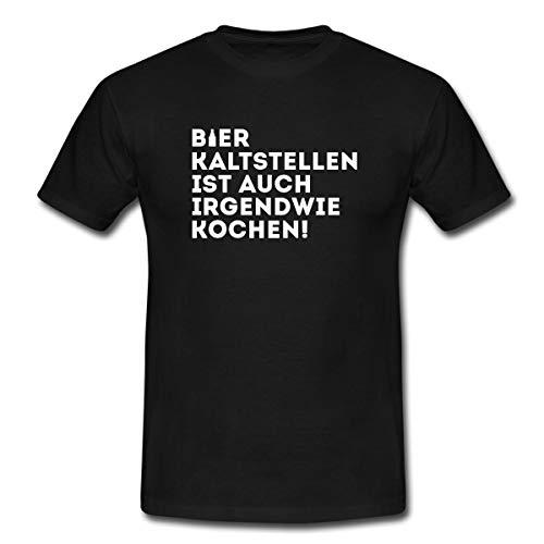 Bier Kaltstellen Ist Auch Kochen Witziger Spruch Männer T-Shirt, 3XL, Schwarz