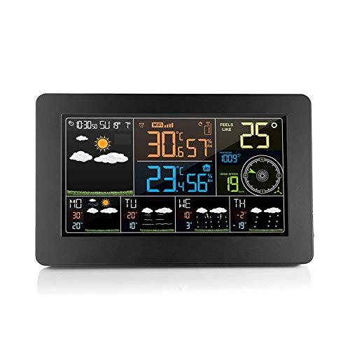 ZOUJIARUI Estaciones meteorológicas Termómetro al Aire Libre inalámbrico Higrómetro, con Pantalla a Color, pronóstico del Tiempo, Despertador, Alarma de Temperatura, Brillante Brillante