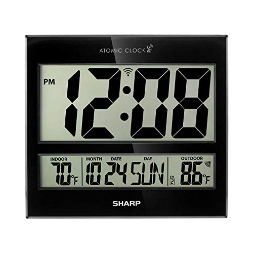 """Sharp Atomic Clock - Atomic Accuracy - Never Needs Setting! - Jumbo 3"""" Easy to Read Numbers - Indoor/ Outdoor Temperature Display with Wireless Outdoor Sensor - Battery Powered - Easy Set-Up!!"""