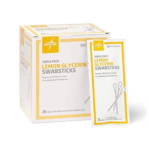 Medline Lemon Glycerin Swabsticks, Swabs for Dry Mouth, 750 Count