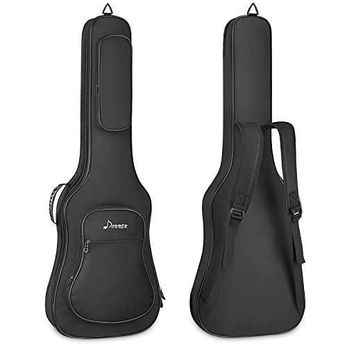 Donner E-gitarrentasche 39 Zoll E-Gitarre Gig Bag, 12MM Dicke Rucksack Weiches, solides Gitarrenkoffer mit verstellbaren Trägern, wasserdichtes Vlies Verdicktes Schwammpad Zwei Taschen, Schwarz
