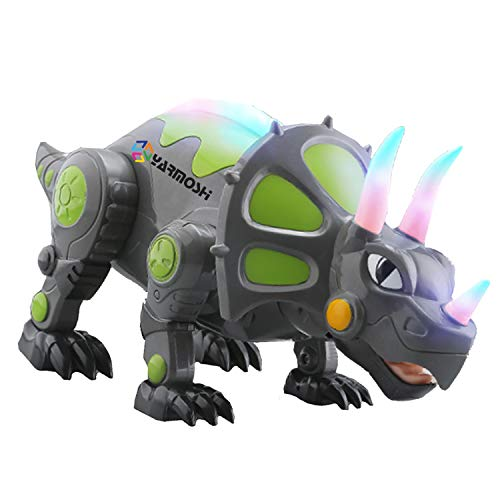 歩く トリケラトプス 恐竜 ロボット おもちゃ 電池式 カラフル 白熱灯 可動式の手足 音楽 サウンド 女の子 男の子 ジュラシック 楽しい ギフト 5.5 x 5.8 x 14.1インチ 対象年齢2歳以上