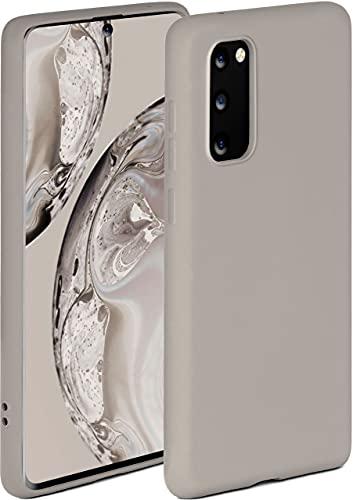 ONEFLOW Funda blanda compatible con Samsung Galaxy S20 / S20 5G, de silicona, borde saliente para protección de pantalla, doble capa, suave, color topo mate