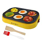 Health and Home Electric 6-Cup Egg Frying Pan, Non Stick Egg Cooker Pan, Cupcake,Pie,Desserts,Mini Crepe