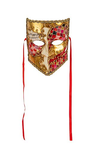 """Máscara Veneciana Clásica""""La Bauta"""" Con Decoración De Mosaico Rojo Y Hoja De Oro Made In Italy - Lazo De Satén"""
