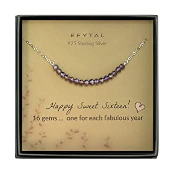 EFYTAL 16th Birthday Gifts for Girls Sterling Silver Sweet 16 Necklace for 16 Year Old Girl Jewelry Gift Idea
