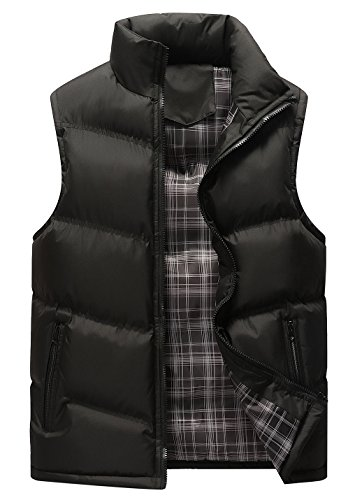 Gihuo Men's Lightweight Active Quilted Padding Puffer Vest Winter Warm Gilet (X-Small, Black)