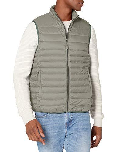 Amazon Essentials Men's Lightweight Water-Resistant Packable Puffer Vest, Grey, X-Large