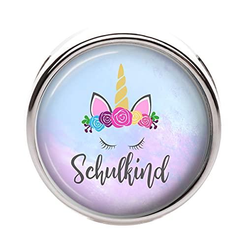 "Schiebeperle""Schulkind Einhorn"" - 12mm - Modeschmuck Personalisiert Individuell Perle Kinderschmuck Einschulung Schulkind Armband Namensperle Glascabochon"