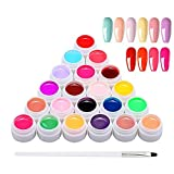 Anself 24 Colores UV Gel con 1 Pincel, Gel de Pintura, Gel UV Set Gel Colores para Uñas, Nail Art Color Gel Set, Gel de Uñas para Nail Art Diseño de Uñas
