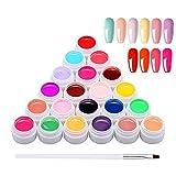24 Colori Gel Unghie con 1 Pennello, Anself Semipermanenti per Unghie Set per Nail Art Design Delle Unghie