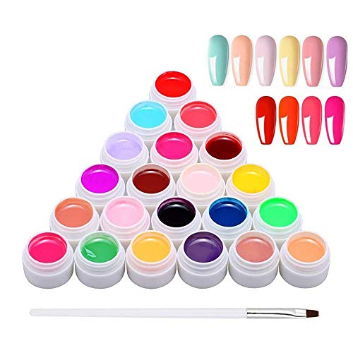 24 Color Nail Gel, Anself 24 x 8ML Nail Art Pigment Gel Builder Polish Solid Glue Extension Gel with One Nail Brush