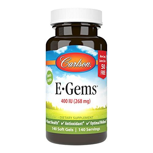 Carlson - E-Gems, 400 IU (268 mg), Natural-Source Vitamin E, Heart Health & Optimal Wellness, Antioxidant, 140 Soft Gels