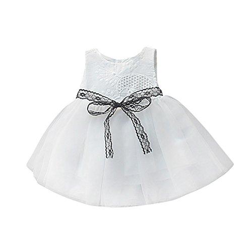 Allence Baby Mädchen Kleid Blumendrucken-Spitze Tütü Kleid Urlaub Ärmellos Sommerkleid Kleinkind Prinzessin Outfit Kleidung