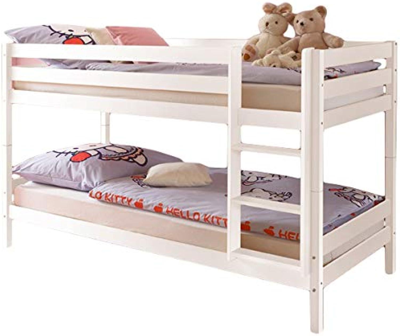Jugendmbel24  Etagenbett Alain Kiefer massiv wei EN 747-1 + 747-2 FSC-Zertifiziert teilbar zu 2 Einzelbetten Kinderbett Hochbett Stockbett