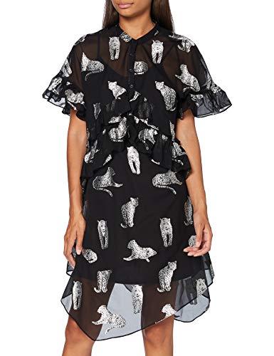 Silvian Heach Dress Foqueis Vestito, Nero (Black/Wht Black/Wht), X-Small (Taglia Produttore:XS) Donna