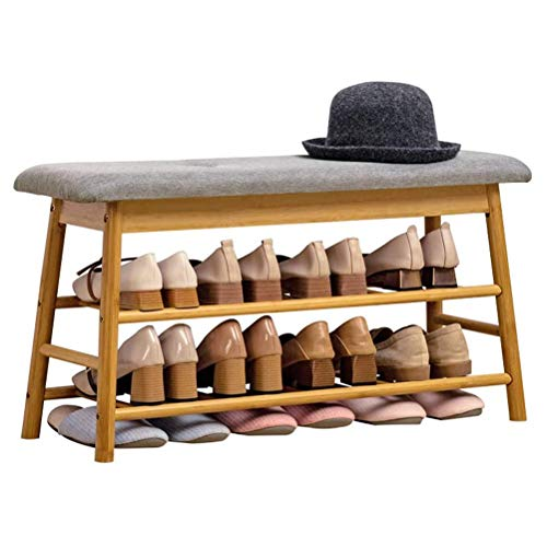 HEMFV Simplifique el banco de almacenamiento, Zapatero Sit-en el Corredor del zapato Gabinete de algodón gris de lino del amortiguador llena con 100% Esponja multifuncional Voltear almacenamiento umbr