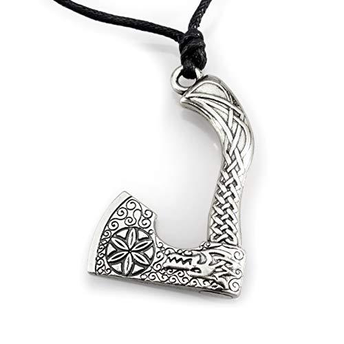 URBANTIMBER Wikinger Halskette Odin's Axt mit Fenris Wolf und keltischen Knoten - Silber oder Bronze/Gold