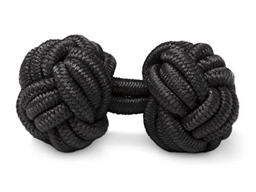 THE SUITS CREW Manschettenknöpfe Seidenknoten Herren Damen Nylon Stoff | Cufflinks Silk Knots für alle Umschlagmanschetten Hemden | Einfarbig (Schwarz)