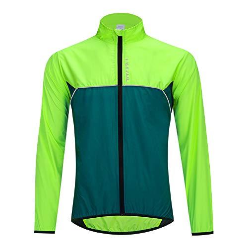Chaqueta Impermeable de Ciclismo Hombre Chaleco Resistente Al Viento Abrigo Agua Ropa Deportiva Transpirable para Exteriores Protección UV (B,L)