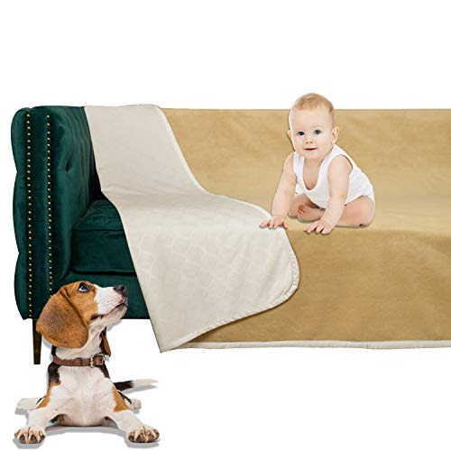 SMILETIME Waterproof Dog Bed Cover, Water-Resistant Soft Throw Blanket for Sofa, Couch and Furniture Protector, Incontinence Bed Underpads for Cats and Pets (40 X 60 Inch, Cream and Sand)