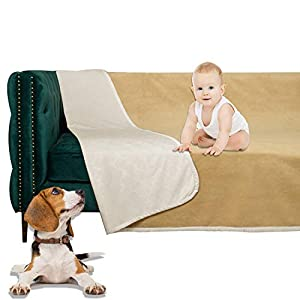 SMILETIME Waterproof Dog Bed Cover, Water-Resistant Soft Throw Blanket for Sofa, Couch and Furniture Protector, Incontinence Bed Underpads for Cats and Pets (80 X 102 Inch, Cream and Sand)