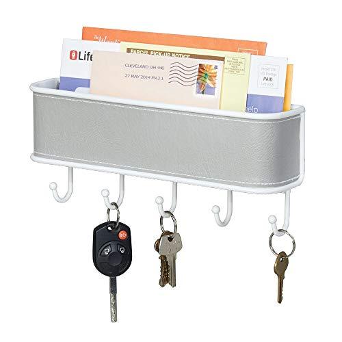 mDesign Organizador de Correo y Llaves - Estante para Cartas y Papeles, con Colgador de 5 Llaves - En Gris y Blanco, para Montar en la Entrada de la casa o en la Cocina
