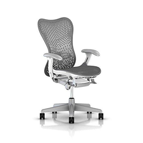 Herman Miller Mirra 2 Task Chair: Tilt Limiter w/Seat Angle Adjustment - FlexFront Adj Seat Depth - Adj Lumbar Support - TriFlex Back - Adj Arms - Fog Base/Studio White Frame