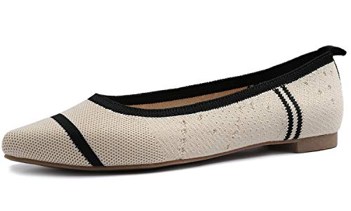 FEVERSOLE Woven Pointy Fashion Knit Flat Shoes