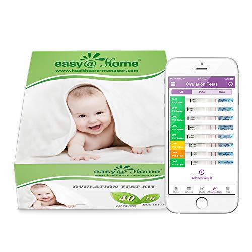 Easy@Home 40 Test Ovulazione + 10 Test Gravidanza, Accuratezza Oltre il 99.8%