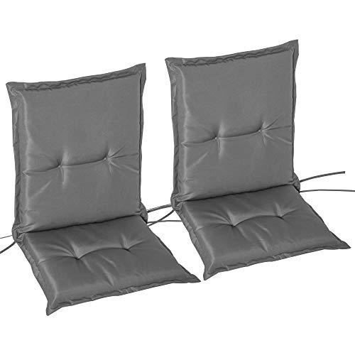 Outsunny Set 2 Pezzi Cuscino per Sedia da Giardino con Schienalein Alto in Poliestere, Grigio Scuro, 100 x 48cm