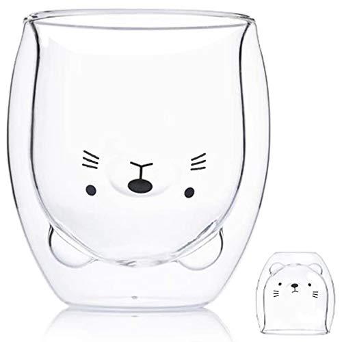 Nette Katze Tassen Bestes Geschenk Teetasse Milchbecher Katze Teetasse Doppelwandige Glas Kaffeetasse 8,3 Unzen Isolierglas Espressotasse Geschenke für lustige Valentinstag Geburtstagsgeschenk und