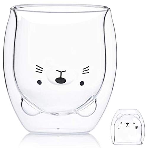 Cute Mugs Cat Tea Cup Milk Cup Cat Tea Cup Double Wall Glass Coffee Cup 8.3 oz Insulated Glass Espresso Cup Gifts for Mother's Day Funny Personal Birthday Friend Present and Office Cup (White)
