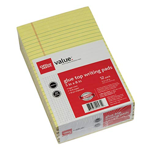 Office Depot Jr. Glue-Top Writing Pads, 5in. x 8in, Legal Ruled, 50 Sheets, Canary, Pack of 12 Pads, 99431