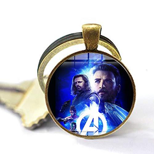 bab Marvel Avengers Infinity War Collar Super Heros Major League Art Poster hecho a mano con colgante de cabujón de cristal para películas y joyas, 2 llaveros, regalo personalizado