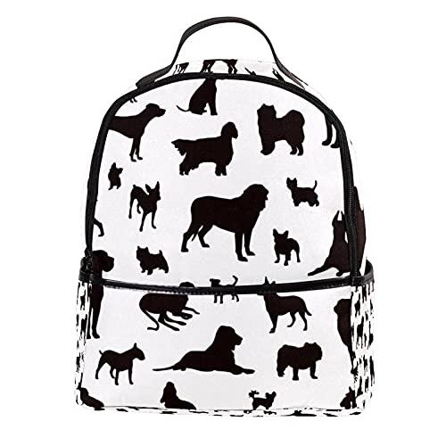 ATOMO Mini mochila casual perro siluetas PU cuero viaje bolsas de compras Daypacks