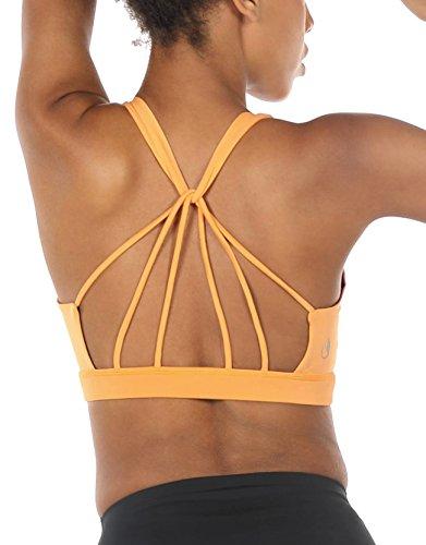 icyzone Yoga Sport-BH Damen Bustier mit Gepolstert - Atmungsaktiv Ohne Bügel Sports Bra Top (S, Banana Cream)