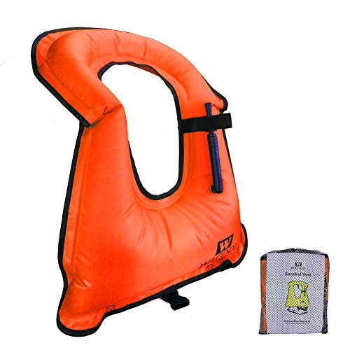 WACOOL Inflatable Snorkel Diving Swimming Scuba Vest Jacket for Adult Youth Kids (Adult, Orange)